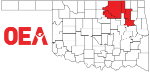 Oklahoma map with Northeast Region Zone B counties highlighted