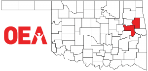 Oklahoma map with Northeast Region Zone C counties highlighted