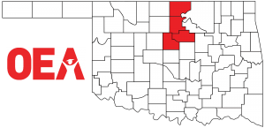 Oklahoma map with Northwest Region Zone B counties highlighted