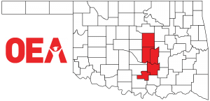 Oklahoma map with Southeast Region Zone A counties highlighted