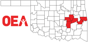 Oklahoma map with Southeast Region Zone B counties highlighted