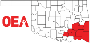 Oklahoma map with Southeast Region Zone C counties highlighted