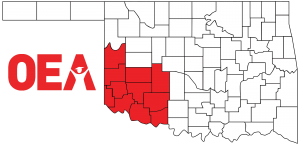 Oklahoma map with Southwest Region Zone A counties highlighted