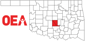 Oklahoma map with Southwest Region Zone B counties highlighted
