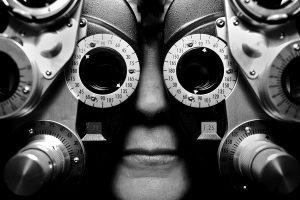 A woman receiving an eye exam