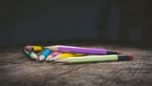 seven pencils in a pile
